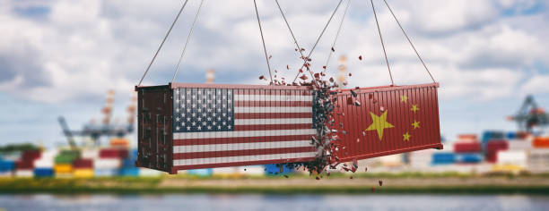 USA and China trade war. Crushed containers, cloudy sky background, banner. 3d illustration USA vs China trade war. US of America and Chinese flags on crushed containers, commercial harbor and cloudy sky background, banner. 3d illustration trade war stock pictures, royalty-free photos & images