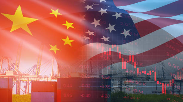 USA and China trade war economy conflict tax business finance money / United States raised taxes on imports of goods from China USA and China trade war economy conflict tax business finance money / United States raised taxes on imports of goods from China on Container ship in export and import logistics background trade war stock pictures, royalty-free photos & images
