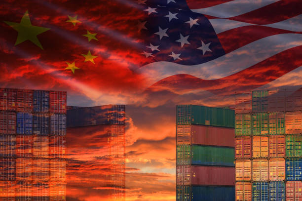 USA and China trade war economy conflict tax business finance money / United States raised taxes of goods from China on Container ship in export and import USA and China trade war economy conflict tax business finance money / United States raised taxes of goods from China on Container ship in export and import logistics background trade war stock pictures, royalty-free photos & images