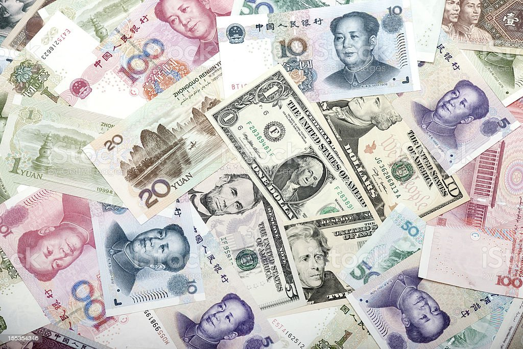 USA and Chinese Banknotes stock photo