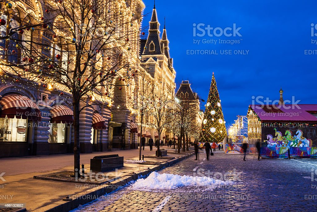 GUM and Christmas market on the Red Square, Moscow stock photo