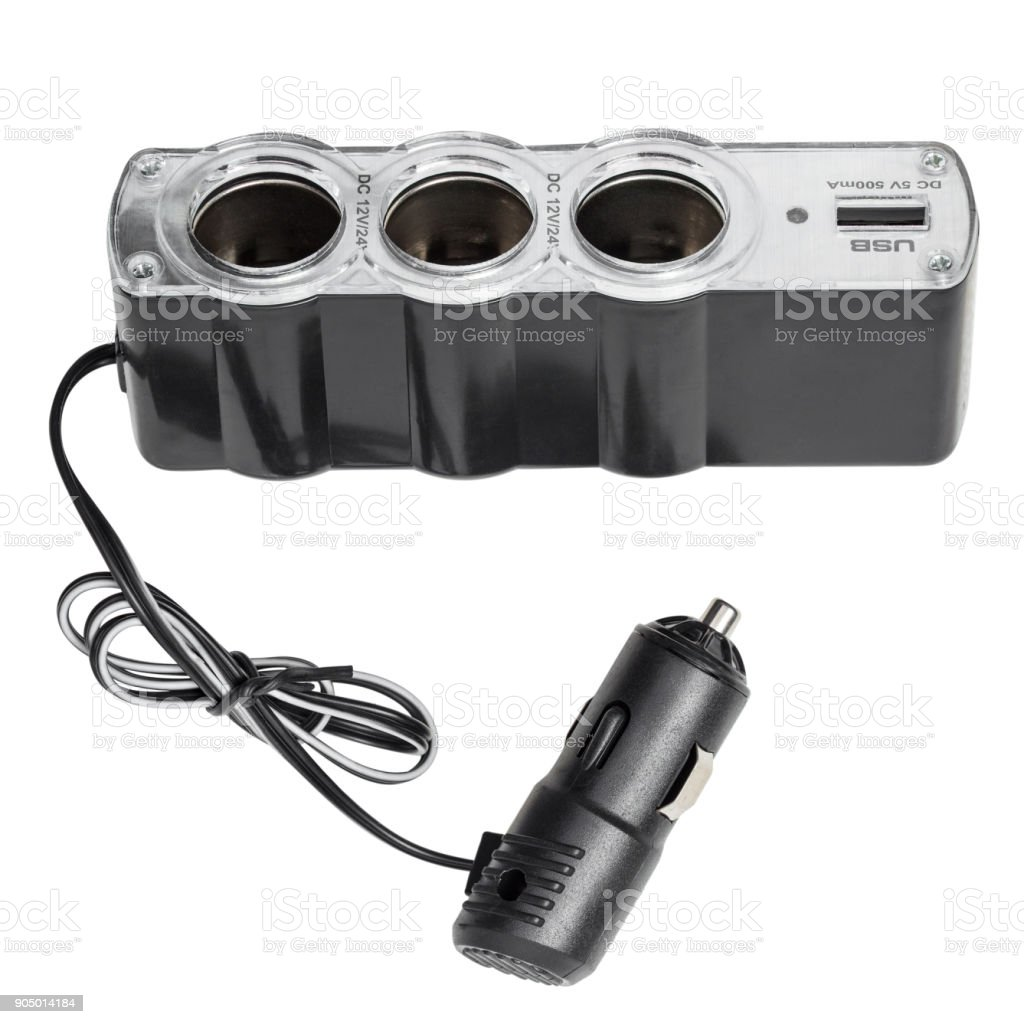 USB and cigarette lighter socket for the car stock photo