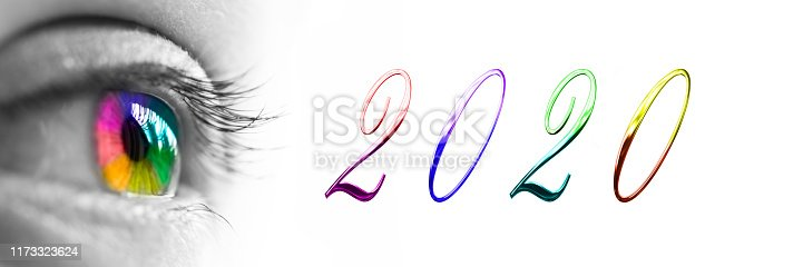 istock 2020 and colorful rainbow eye headeron panoramic white background, 2020 new year greetings concept 1173323624