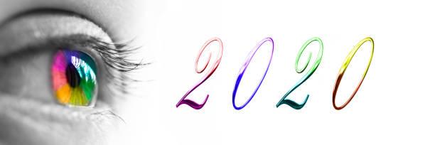 2020 und bunte Regenbogen Auge Headeron Panorama weißen Hintergrund, 2020 Neujahrsgrüße Konzept – Foto