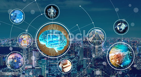 istock AI (Artificial Intelligence) and communication network concept. 1152951211