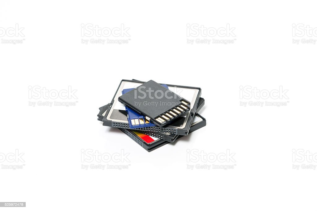 SD and Compact Flash Memory Cards isolated on White stock photo