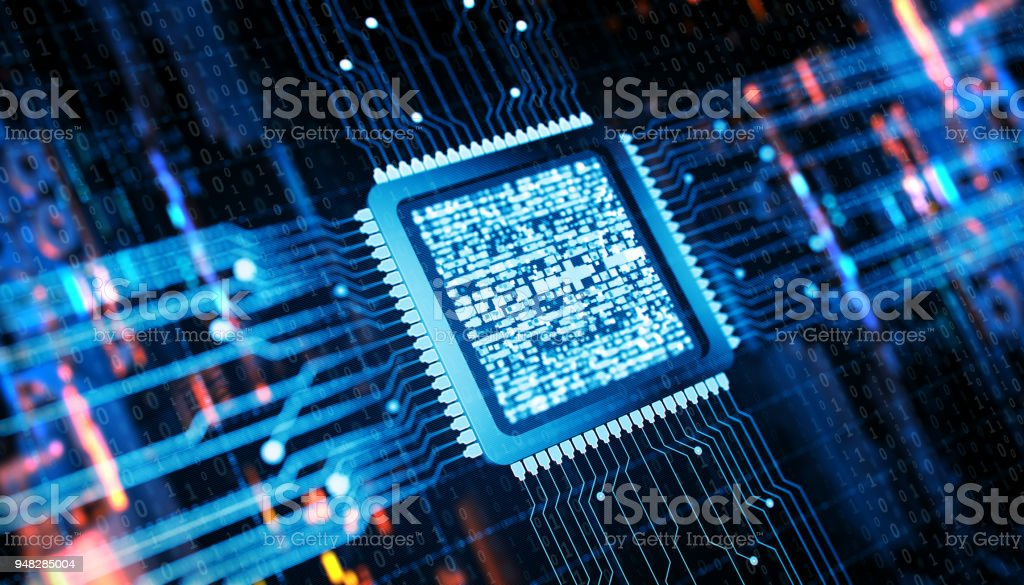 CPU and Computer chip concept stock photo