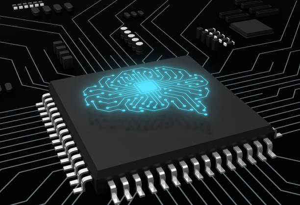 CPU and Computer circuit board concept, artificial intelligence concept. stock photo