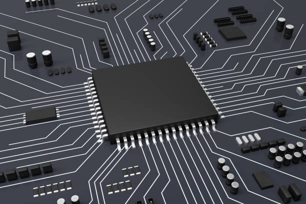 CPU and Computer circuit board concept stock photo
