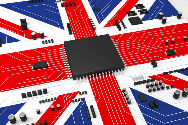 CPU and Computer circuit board concept, The board is covered with the Union Flag stock photo