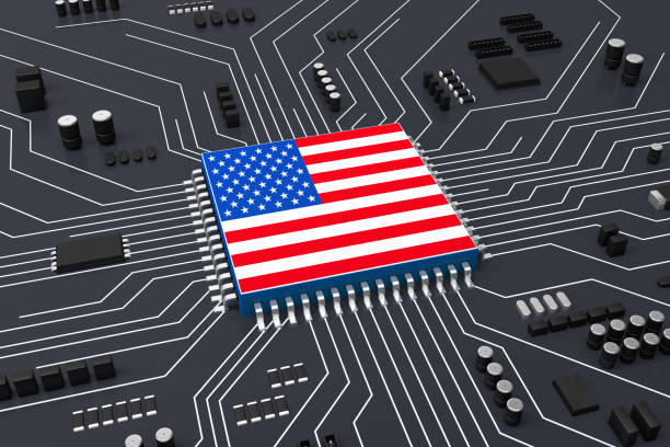 CPU and Computer circuit board concept, The CPU is covered with American flag stock photo