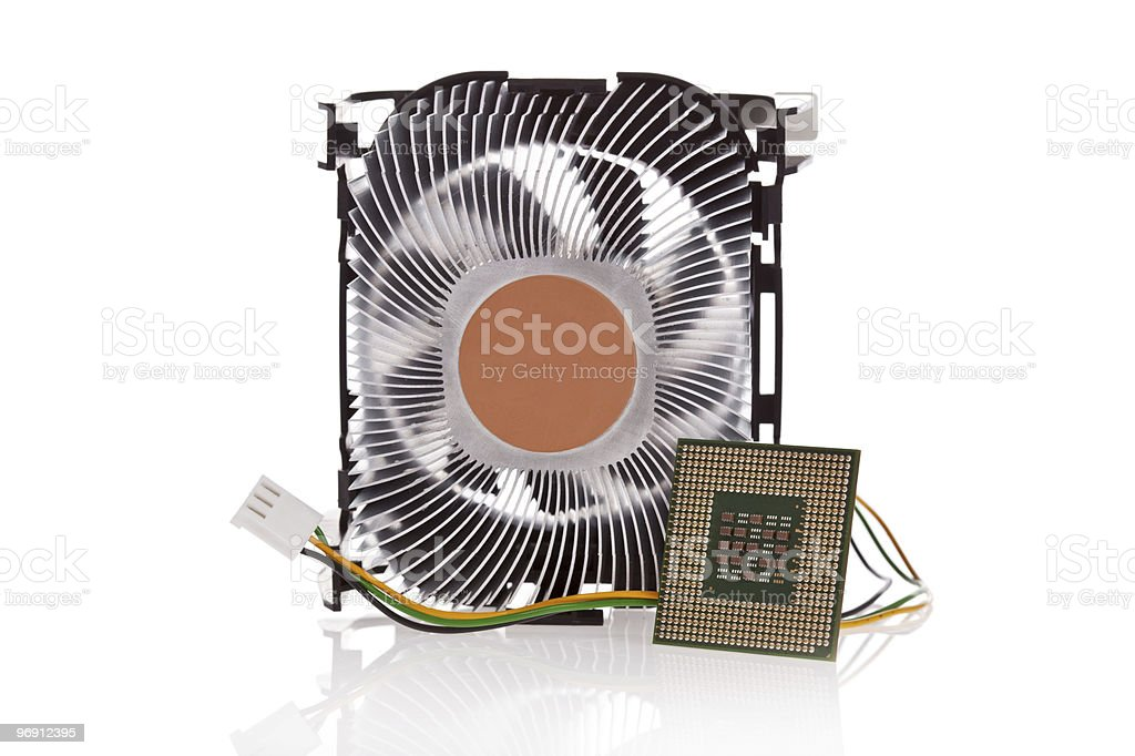 CPU and Cooler isolated on white royalty-free stock photo