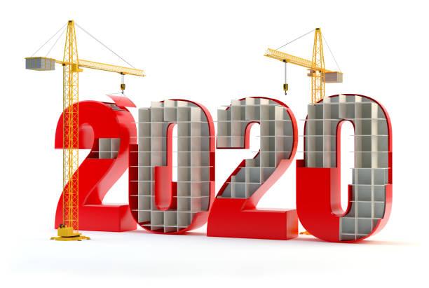 2020 und Kräne - rot – Foto