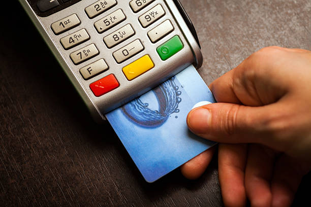 Órdenes de compra y tarjeta de crédito - foto de stock