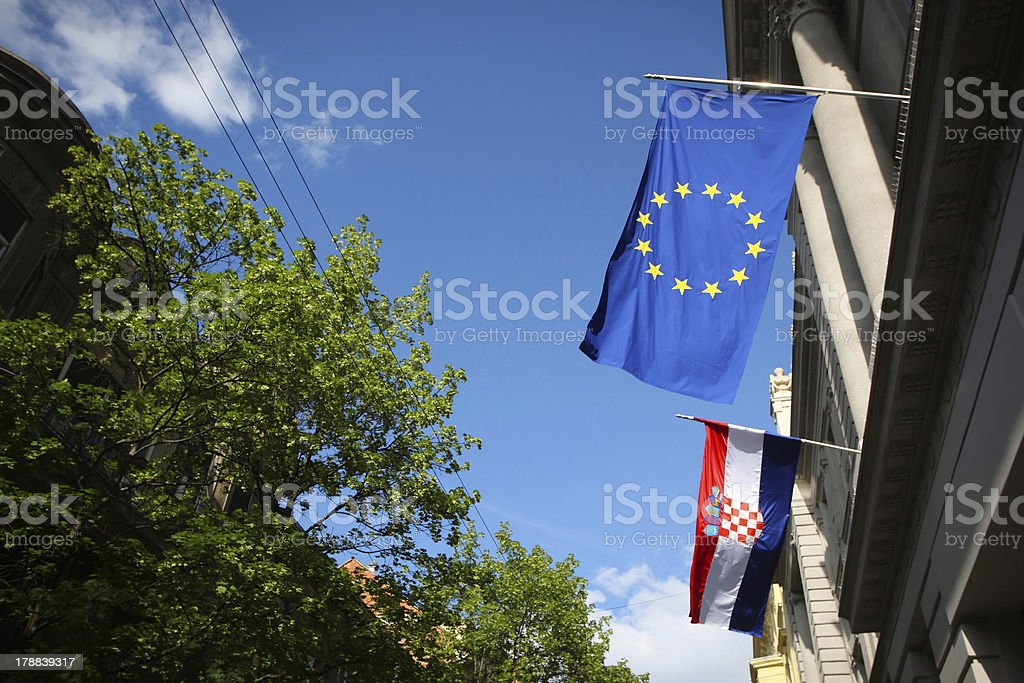 EU and Croatian flag in Zagreb royalty-free stock photo