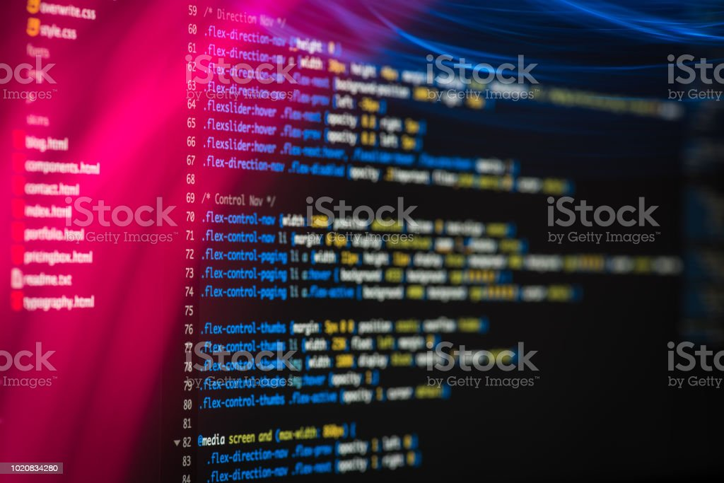 Html And Css Code Developing Screenshot With Light Effects Stock