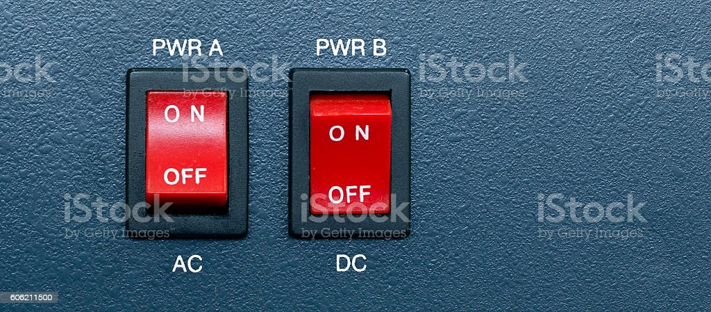 AC and DC Power switch stock photo