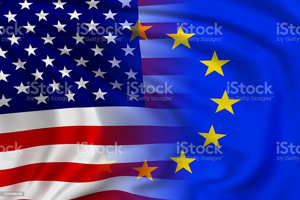 USA and EU flag stock photo