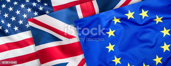 istock USA UK and EU flags. Collage of three flags. 629514040
