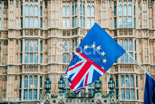 A flag merging the UK and EU flags, by Houses of Parliament building in London