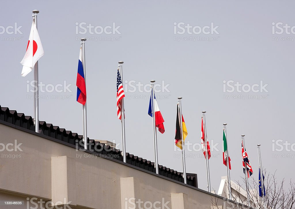 G8 and EU flags stock photo