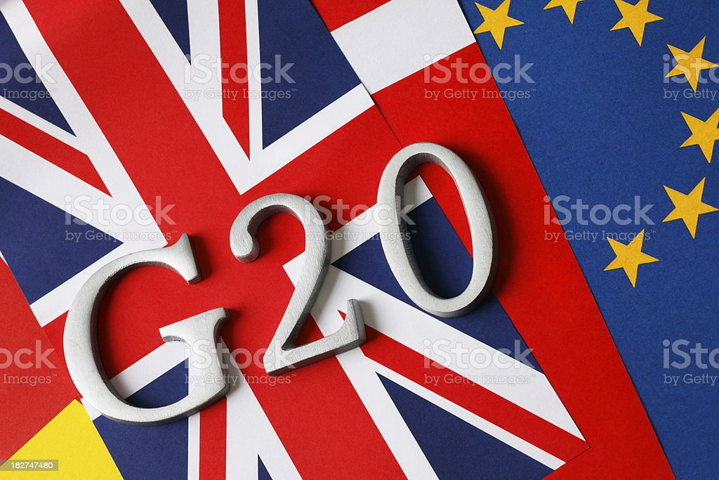 G20 and EU Flags stock photo