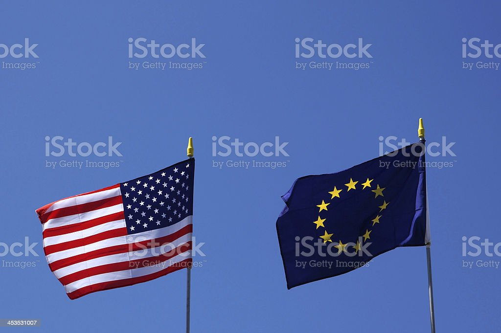 US and EU flags stock photo