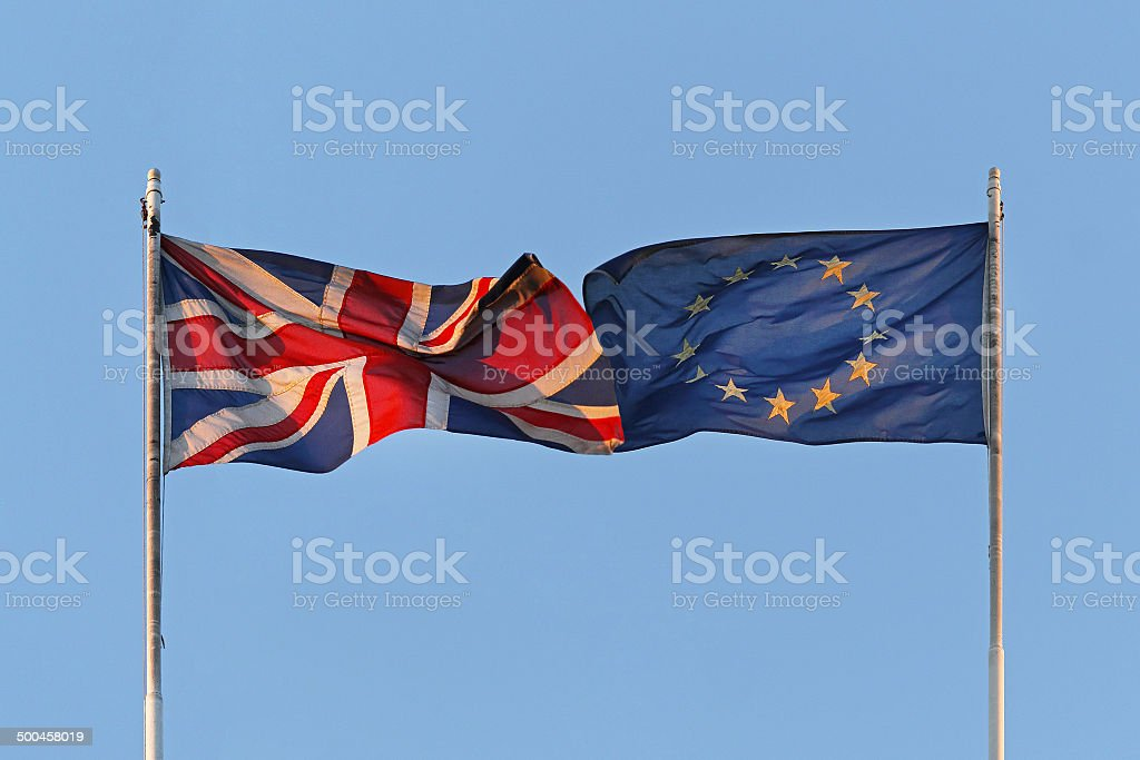 UK and EU flags stock photo