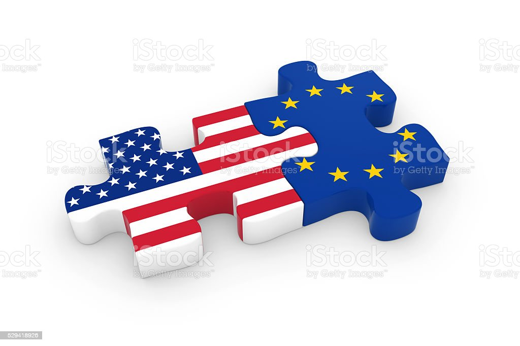 US and EU Puzzle Pieces - American and European Flag stock photo