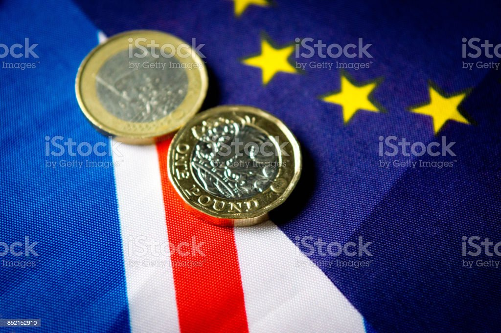 UK and Euro flags stock photo