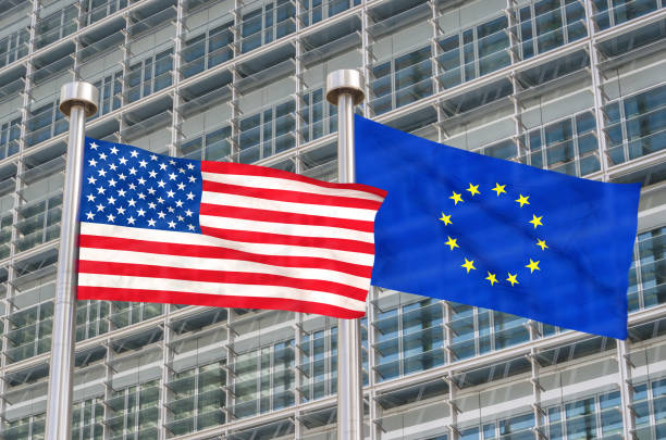 USA and European flags waving in the wind (3D rendered) USA and European flags waving in the wind (3D rendered) european commission stock pictures, royalty-free photos & images