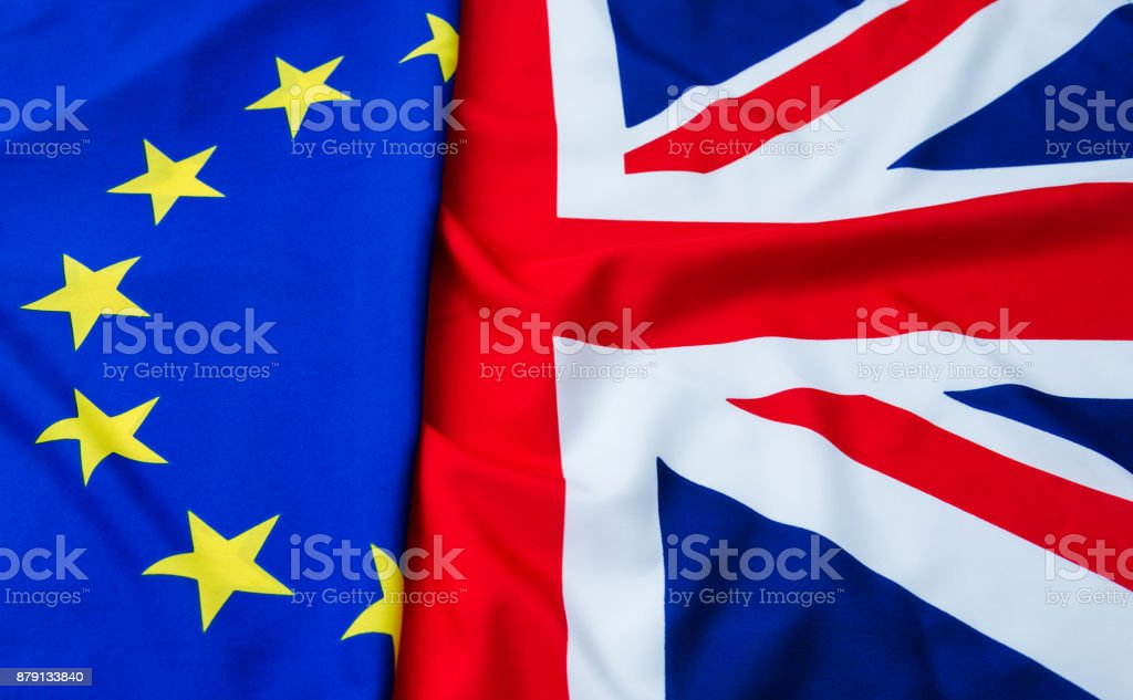 UK and European Union flags stock photo