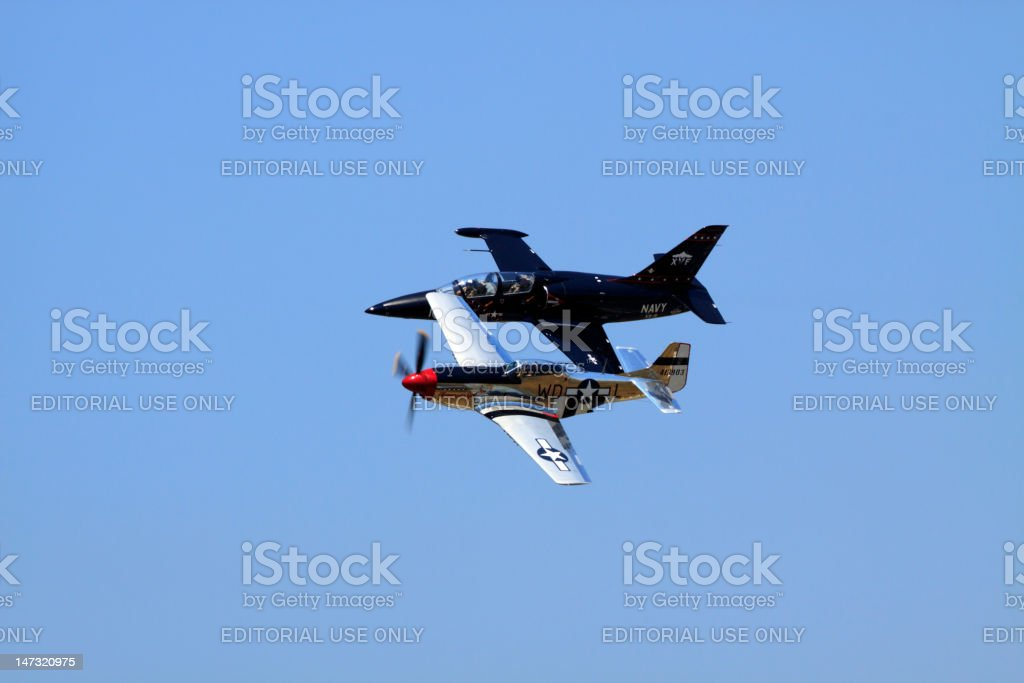 P-51 and F-9 royalty-free stock photo