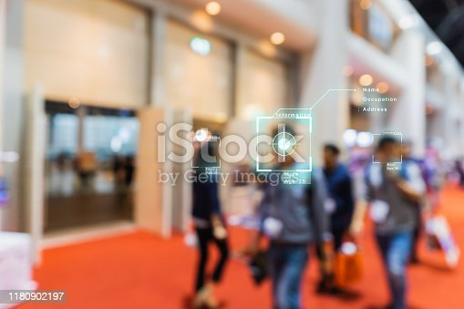 AI (artificial intelligence) concept, machine learning, nanotechnologies and face recognition concept, Interactive artificial intelligence digital advertisement in event exhibition hall, CCTV camera