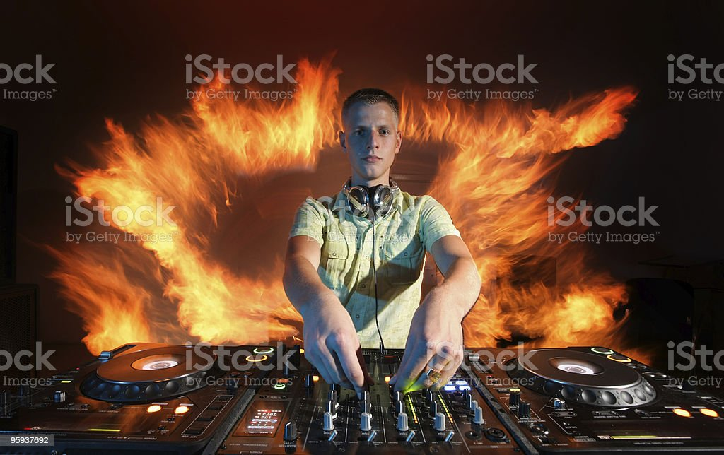 DJ and fire royalty-free stock photo