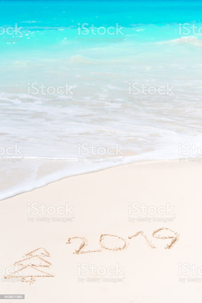 2019 and firtree painting on sandy white beach stock photo