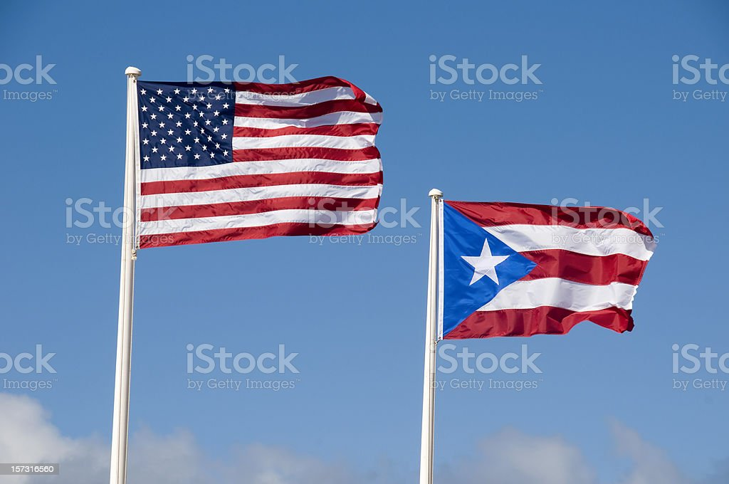 U.S. and Flag of Puerto Rico stock photo