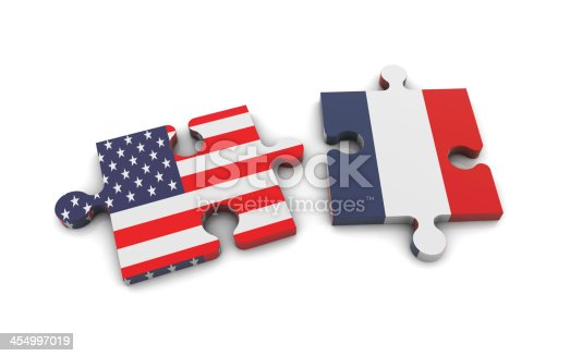 istock USA and France Flags on Puzzle 454997019