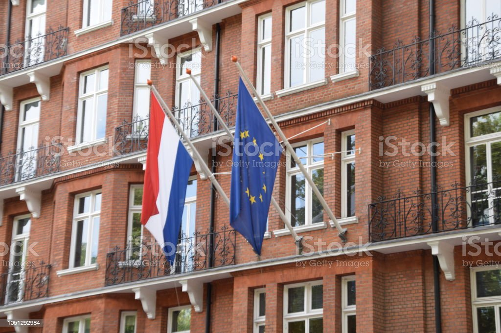 EU and French Flags stock photo