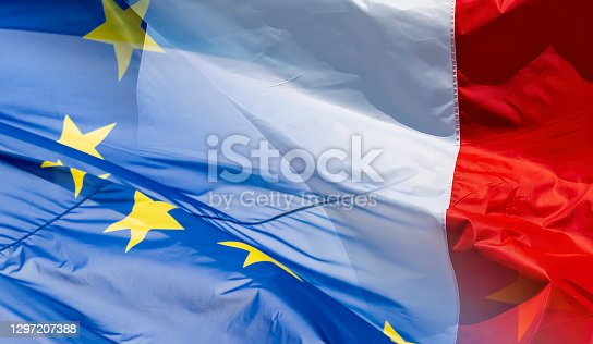 EU and French flag transition for use as a background for Brexit based documents.