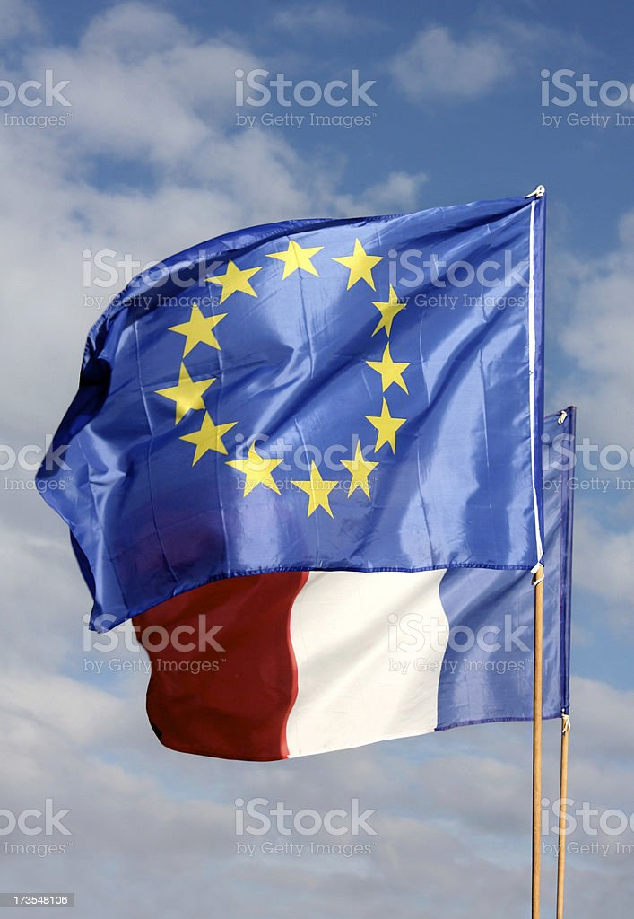 EU and French Flags royalty-free stock photo