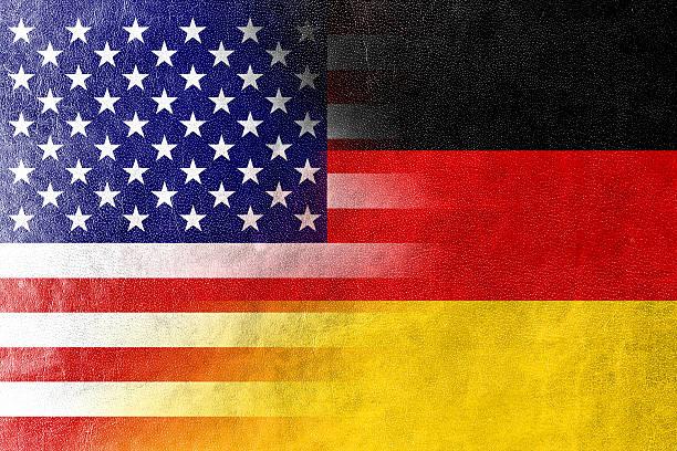 usa und deutschland flagge gemalt auf leder struktur - deutschland usa stock-fotos und bilder
