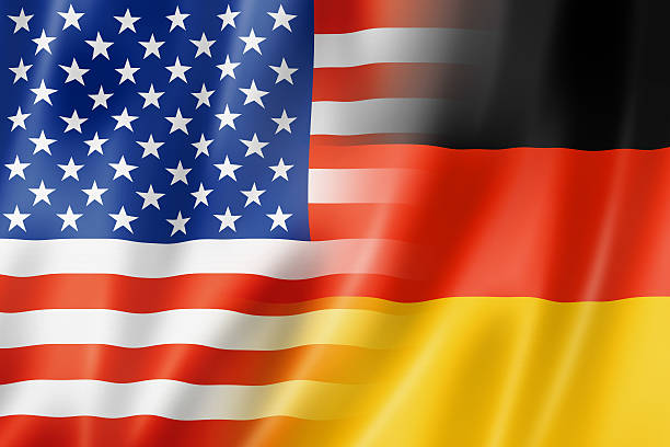 USA and Germany flag stock photo