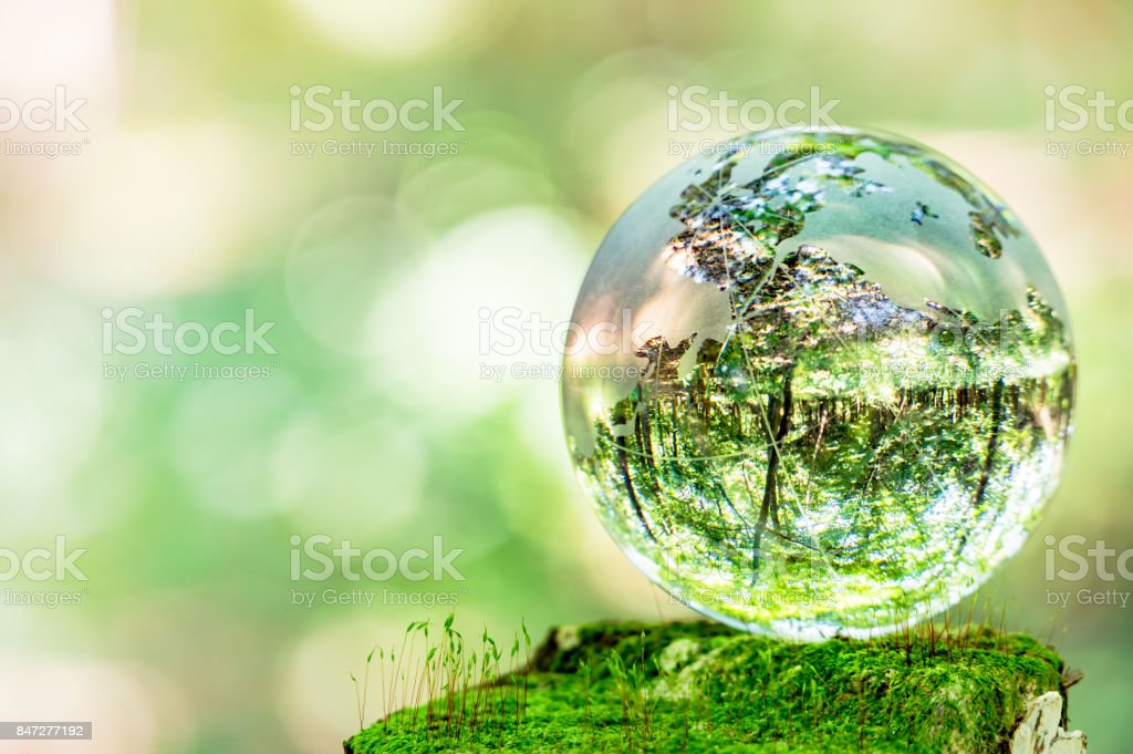 MOSS and glass globes stock photo