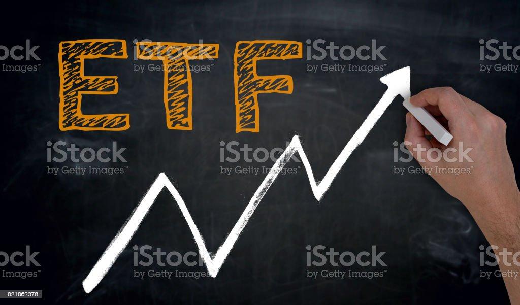 ETF und Grafik ist von Hand auf Tafel geschrieben – Foto