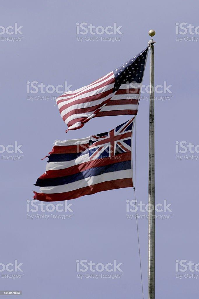 U.S. and Hawaii Flags royalty-free stock photo