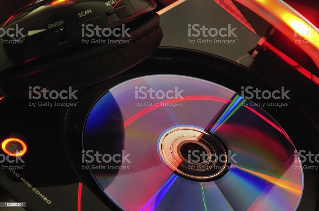 CD and headphones stock photo