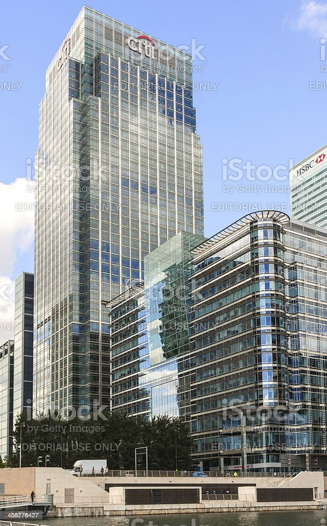 CITI and HSBC banking HQ in the United Kingdom stock photo