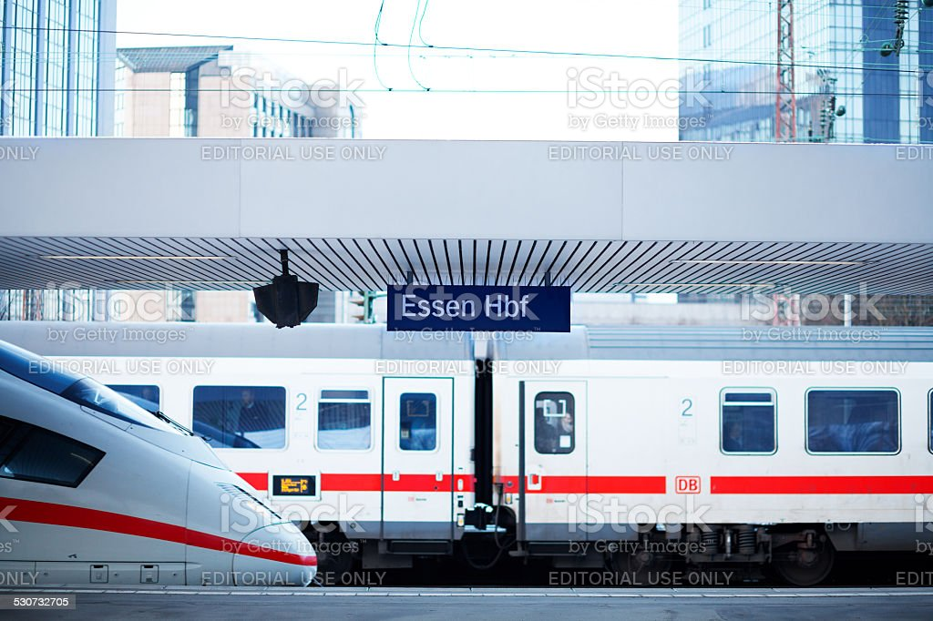 IC and ICE trains in station Essen stock photo
