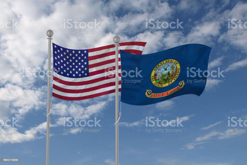 USA and Idaho flag waving in the sky stock photo